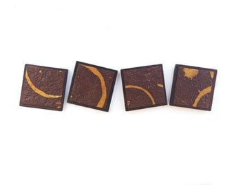 Square Magnets Handmade Paper Wood Brown Gold Abstract Swirl Batik Kitchen Art Refrigerator and Locker Decor