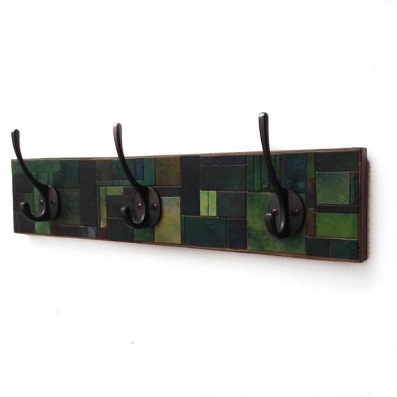Wall Coat Rack - Handmade Paper - Geometric Green - Mosaic Recycled Wood - Green Coat Hook -  Wall Storage - Entryway Rack