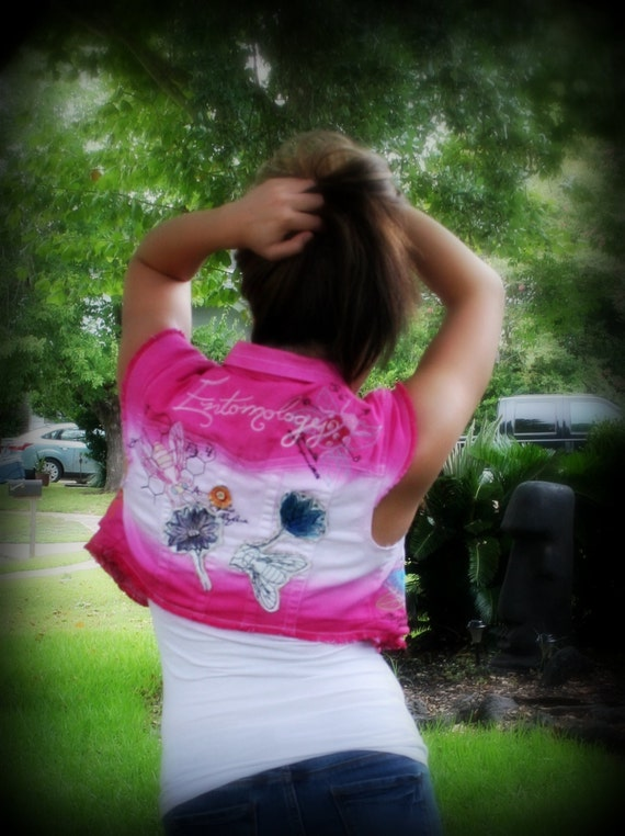 Hand Dyed Ombre' Style Embroidered Entomology Fuchsia & White Denim Vest
