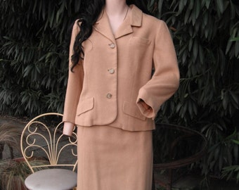 Vintage Davidow Camel Hair Business Suit / 1970s Two Piece Camel Hair Suit / Two Piece Suit