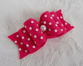 "Dog Bow- 7/8"" Shocking Pink Pearl Swiss Dot DL Dog Bow"