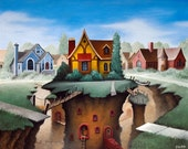 After the Quake, 11x14 fine art matted giclee print reproduction of an original oil painting
