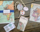 Cavallini Vintage Maps Petite Parcel Gift Bag Set, Gift Tags, Stickers,Party Favor Bags, Gift Packaging - CraftyNestSupplies