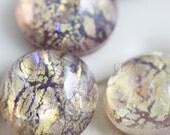 6 Pieces Preciosa Czech Glass Round Cabochons-Amethyst Opal 9mm (168409OPAM) (B-3-18)