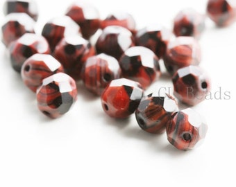 25pcs Czech Fire Polish Faceted Round-Red Black Speckle 8mm (FP8445)