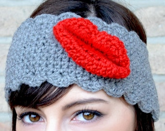 Made in Italy - Kiss on my forehead! Head piece, wool ear warmer, lips, mouth, kiss red lipstick - Made in Italy