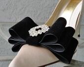 Black Velvet  Ribbon Bow Plain Or With Rhinestone Shoe Clips Set Of Two