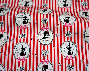 Japanese fabric Ballerina print Cotton  50 cm 53 cm or 19.6 by 21inches  (n431)