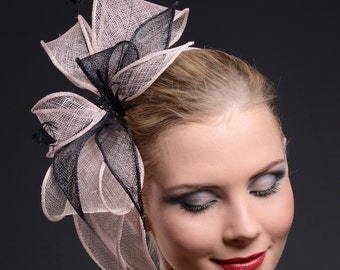Fascinator Black and Blush Pink  Handmade for Weddings, Ascot, Derby