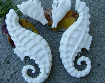 Fake Gauge Earrings  Bone Split Gauge hand carved tribal style fake piercings organic naturally,seahorse