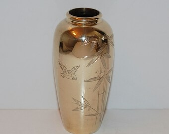 Chinoiserie Hollywood Regency Brass Bamboo & Bird Vase