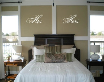 His  Hers Wall Decal/Sticker/Lettering/Transfer  Wedding Shower Gift