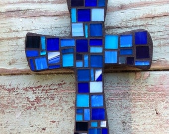 Mosaic Cross - Small Blue