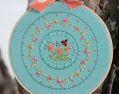 Spring Breeze--Hand Embroidered Hoop Art
