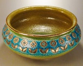 ITALY STUDIO BOWL Ceramic Signed Golden Flowers textured Turquoise band on Green 4.5 T X 11 D in.
