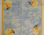 Vintage ELLEN TRACY SILK Gauze scarf Yellow  flowers  light blue signed  21x20