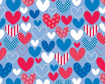 Clearance FABRIC Star Spangled HEARTS red white blue 1/2 yard