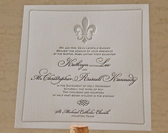 Letterpress Wedding Invitation sample, Wedding invitation, French wedding invitation, Wedding invitations, Fleur-de-lis, Fleur de lis