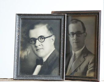 Man in Glasses, 1920's to 1930's Photography Portrait, Set of 2, Wooden Picture Frames, Grey, Sepia Wall Decor, Dapper Gentleman
