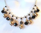 Bib Necklace - Multi Colored - Silver Gold Black - Tri Color Necklace - Champange Pearl - Statement Necklace