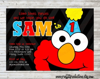 Modern Elmo Birthday Party Invitation