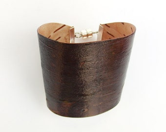 Birch bark wood bracelet in brown, The Large