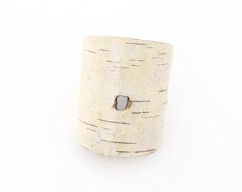 Birch bark bracelet, wood bracelet, Woodpecker