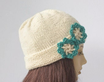White Knit Hat Women's, Flower Cloche, Cap with Turquoise Flowers, Winter Hat