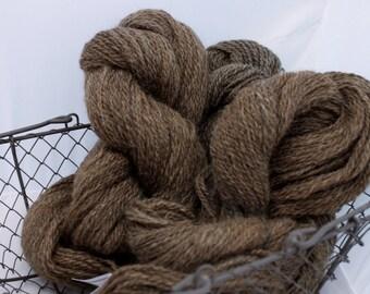 Yarn, Brown Hand Spun Hand dyed Wool Blend Brown Handspun Yarn #9