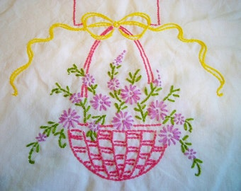SALE! Vintage Pink Flower Basket Embroidered Table Runner Dresser Scarf