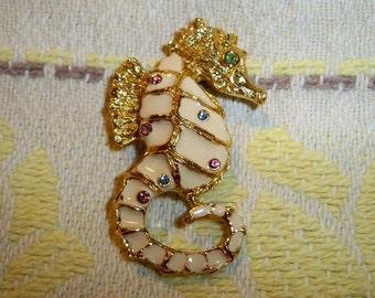 Vintage Craft Seahorse Enameled Brooch Rhinestones Ocean Creature Nautical Pin Costume Jewelry
