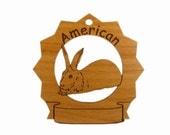 American Rabbit Personalized Wood Ornament