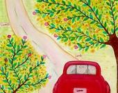 Open Road, Folk Art Painting, Original Painting, Red Vintage Wedding, Honey Moon