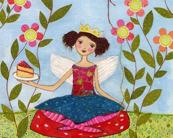 Birthday Party Fairy Painting Art Print Block