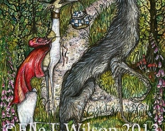 Whippet Dog Art Print - Red Riding Hood