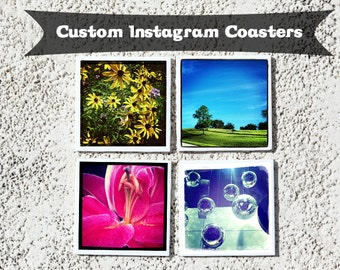 Instagram Coasters - Custom Drink Coaster Set (4), Ceramic Personalized Coasters