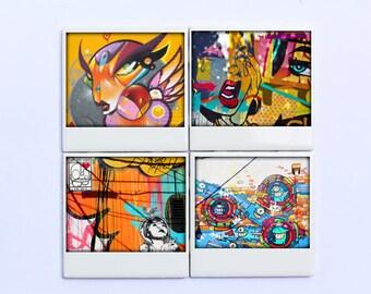Street Art Miami Coasters - Graffiti Urban Art - Set of 4 Drink Coasters