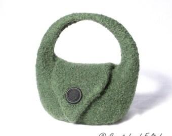 "Felt Handbag ""Charlotte"" Pine Green"