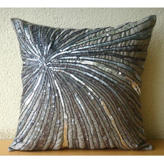designer grey accent pillows 16x16 silk. Black Bedroom Furniture Sets. Home Design Ideas