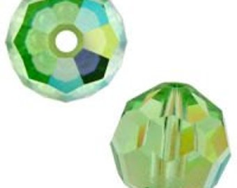 August birthstone 8mm Peridot AB Swarovski crystal beads Style 5000 (6)