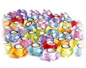 MERZIEs 50 silver faceted acrylic 14x9m European chain charm beads factory seconds mixed colors