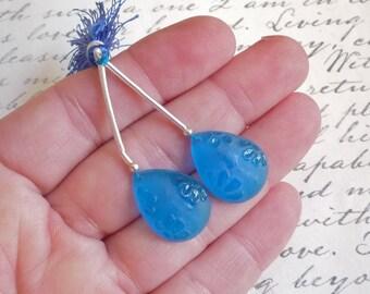 Japanese Flower Cameo Carved London Blue Topaz Quartz Briolette  Bead Matched Pair