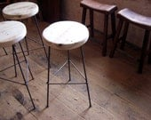 FREE SHIPPING - Reclaimed Wood Bar Stools with Metal Legs