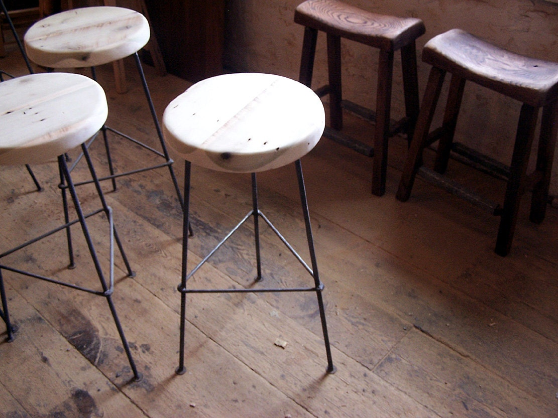 🔎zoom - FREE SHIPPING Factory Style Reclaimed Wood Bar Stools With