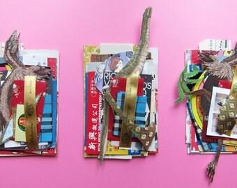 LAST TWO (sale!) - Dinosaur Mix modern collage kit - 1 mini set of paper stock