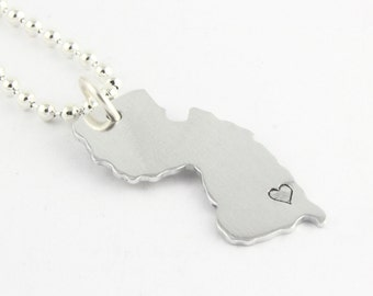 Personalized State of New Jersey Necklace - Hand Stamped State Outline - Jersey Girl