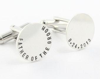 Father of the Groom Cufflinks - Wedding Cuff Links - Sterling Silver Cufflinks - Personalized Cufflinks - Gift for Men - Custom Gift