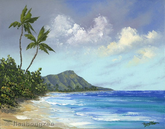 WAIKIKI DIAMOND HEAD Hawaii Original Oil Painting 16x20 Palette Knife Art Artwork Oahu Honolulu Ocean Palm Tree Vacation Turquoise Sea Relax