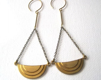 Art Deco Golden Tiered Half Circle Earrings