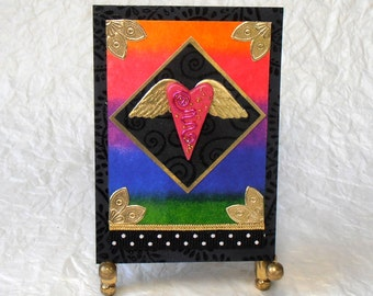 ACEO - Original Mixed-Media Art Card, Original Collage, Flying Heart, Heart with Wings, Home Decor
